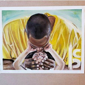 Kobe Oil Painting On Canvas Paper 11 X 14